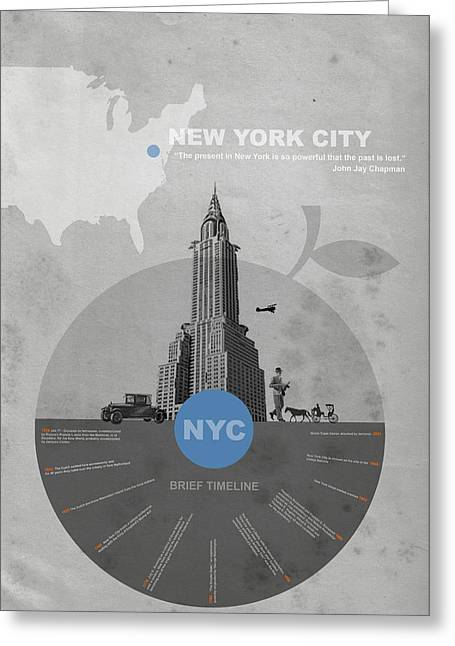 New York Greeting Cards - NYC Poster Greeting Card by Naxart Studio