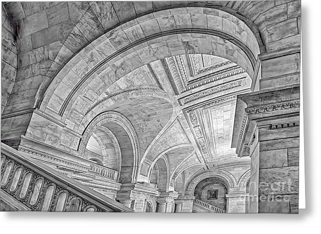 Nyc Public Library Greeting Card by Susan Candelario