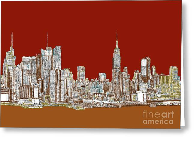 Red Buildings Drawings Greeting Cards - NYC red sepia  Greeting Card by Lee-Ann Adendorff