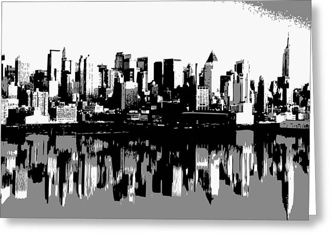The Capital Of The World Greeting Cards - NYC Reflection BW3 Greeting Card by Scott Kelley