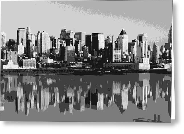 Everything Is Faster In New York Greeting Cards - NYC Reflection BW6 Greeting Card by Scott Kelley