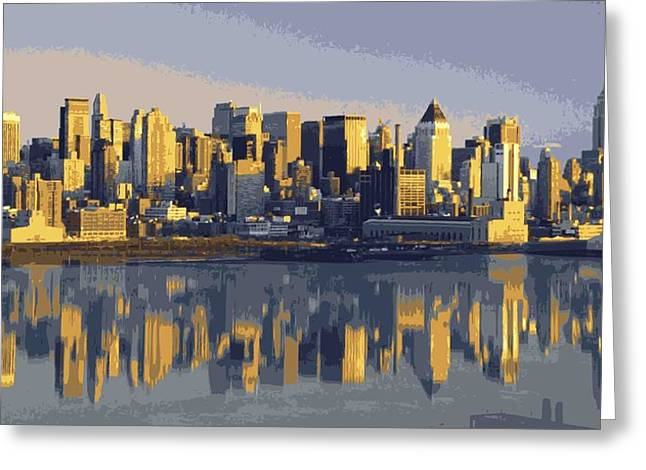 Everything Is Faster In New York Greeting Cards - NYC Reflection Color 16 Greeting Card by Scott Kelley