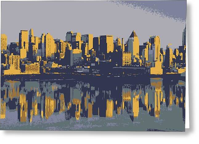 The Capital Of The World Greeting Cards - NYC Reflection Color 6 Greeting Card by Scott Kelley