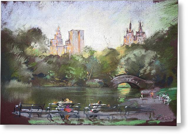 People In Autumn Greeting Cards - NYC Resting in Central Park Greeting Card by Ylli Haruni