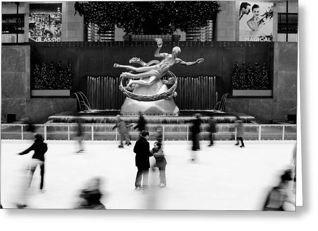Black Top Greeting Cards - NYC Rockefellar Iceskating Greeting Card by Nina Papiorek