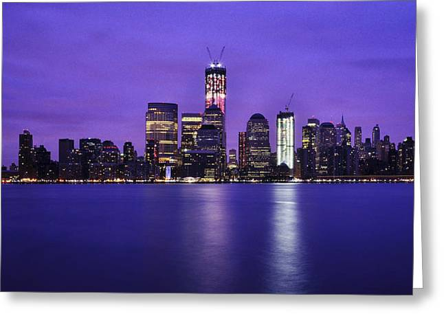 Wtc 11 Greeting Cards - NYC Skyline in Blue and Pink Greeting Card by Vicki Jauron