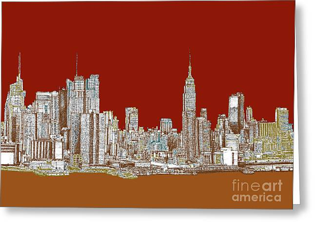 Red Buildings Drawings Greeting Cards - NYC skyline in red sepia Greeting Card by Building  Art