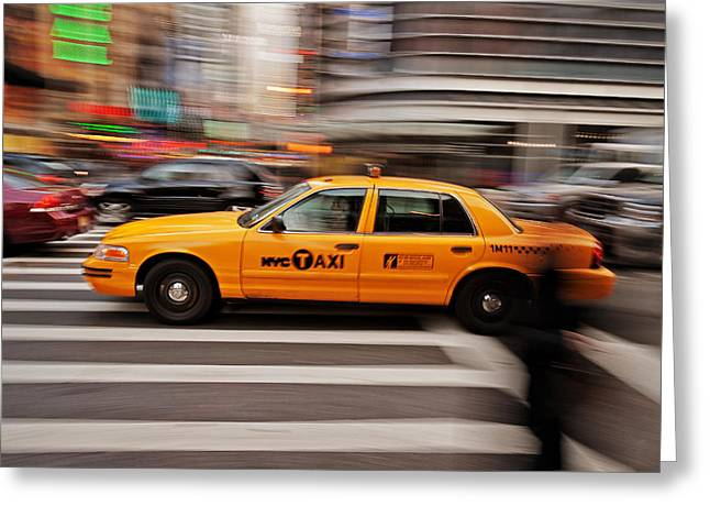 Fast Taxi Greeting Cards - NYC Taxi Greeting Card by Benjamin Matthijs