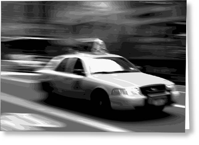Capital Of The Universe Greeting Cards - NYC Taxi BW16 Greeting Card by Scott Kelley