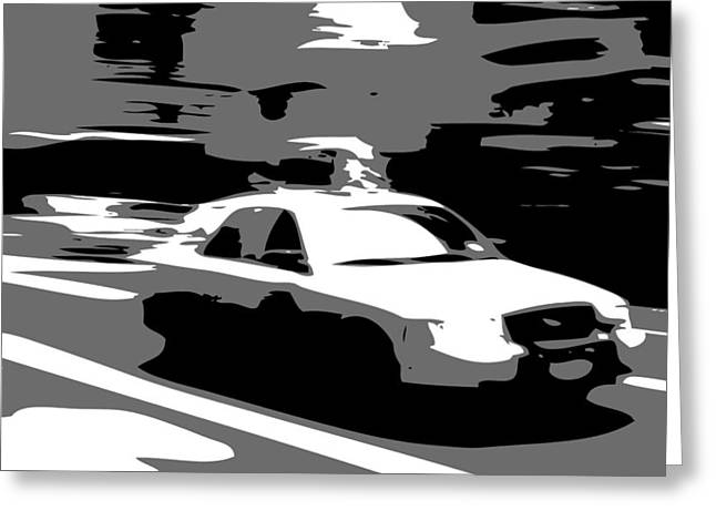 Getting A Cab In The Center Of The Universe Greeting Cards - NYC Taxi BW3 Greeting Card by Scott Kelley