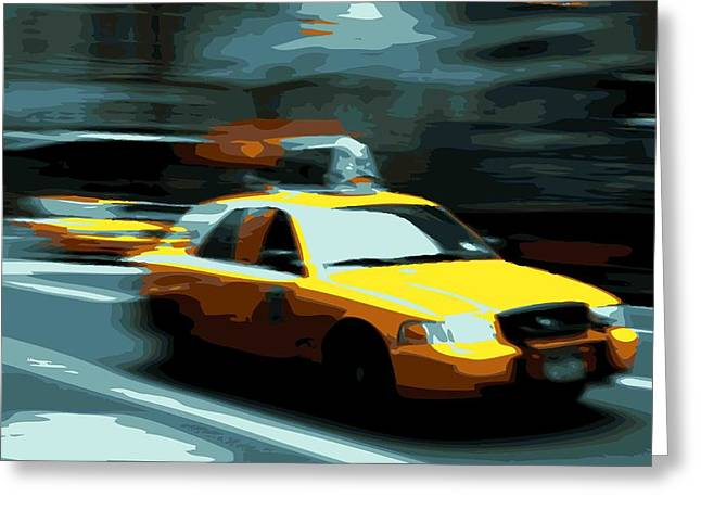 Getting A Cab In The Center Of The Universe Greeting Cards - NYC Taxi Color 16 Greeting Card by Scott Kelley