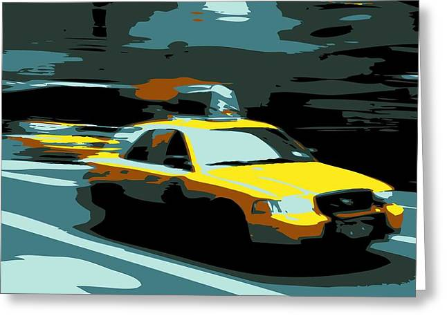 Getting A Cab In The Center Of The Universe Greeting Cards - NYC Taxi Color 6 Greeting Card by Scott Kelley