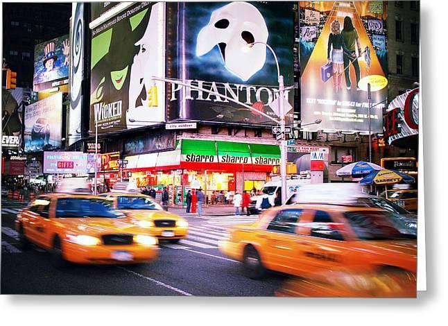 Phantom Greeting Cards - NYC Taxi Taxi Greeting Card by Nina Papiorek