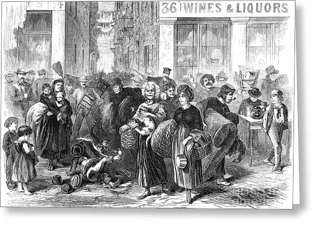 Eviction Greeting Cards - Nyc: Tenement Life, 1871 Greeting Card by Granger
