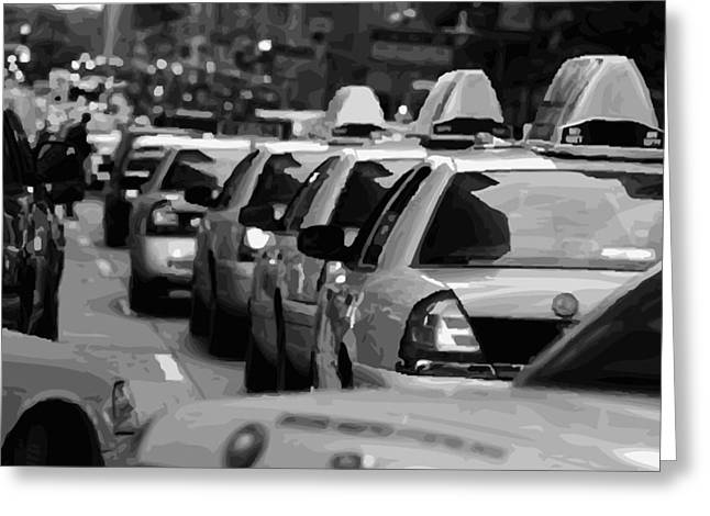 I Heart Ny Greeting Cards - NYC Traffic BW16 Greeting Card by Scott Kelley