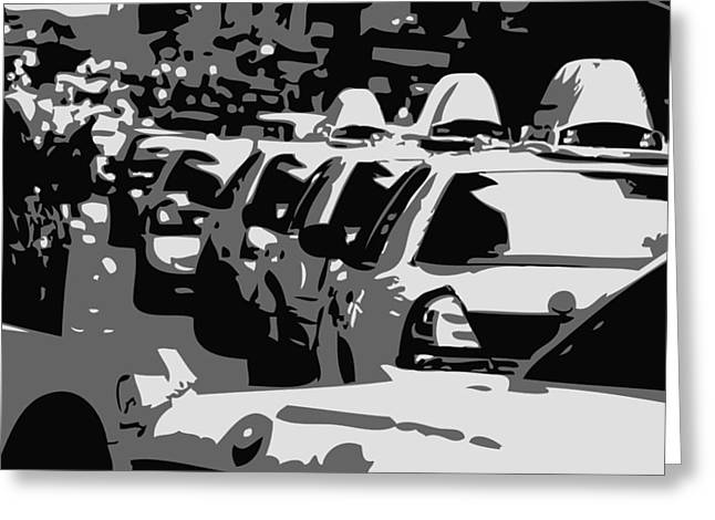 Capital Of The Universe Greeting Cards - NYC Traffic BW3 Greeting Card by Scott Kelley