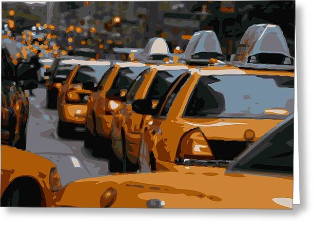 Capital Of The Universe Greeting Cards - NYC Traffic Color 16 Greeting Card by Scott Kelley