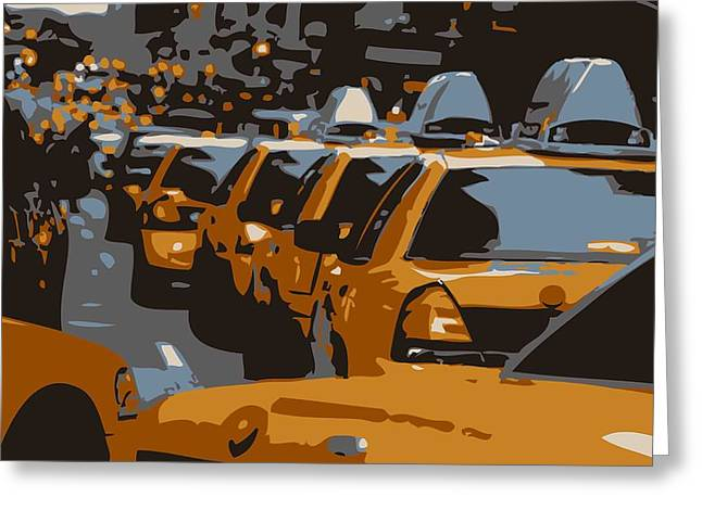 Getting A Cab In The Center Of The Universe Greeting Cards - NYC Traffic Color 6 Greeting Card by Scott Kelley