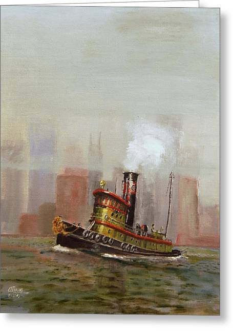 Olive Green Greeting Cards - NYC Tug Greeting Card by Christopher Jenkins