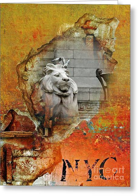 Brick Buildings Mixed Media Greeting Cards - NYC Urban Lion Greeting Card by AdSpice Studios