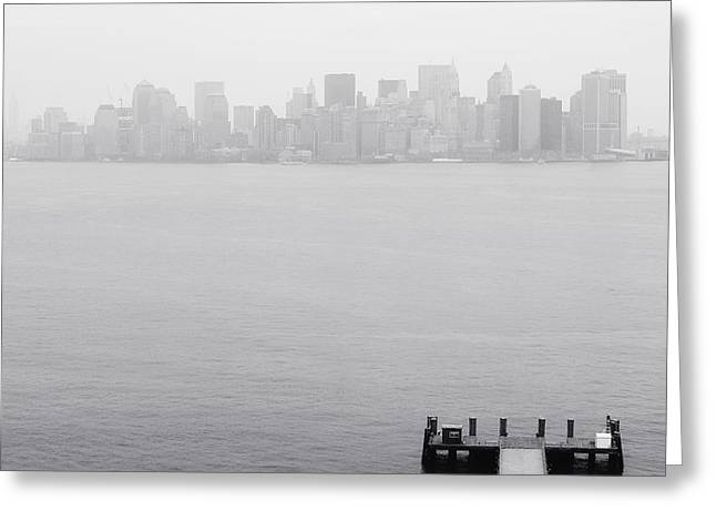 Liberty Island Greeting Cards - NYC View from Liberty Island Greeting Card by Nina Papiorek