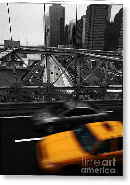 Hannes Cmarits Greeting Cards - NYC Yellow Cab Greeting Card by Hannes Cmarits