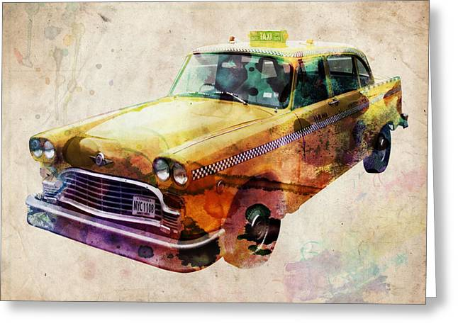 Vehicle Greeting Cards - NYC Yellow Cab Greeting Card by Michael Tompsett