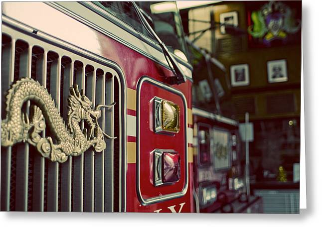 Yellow Dog And Truck Greeting Cards - NYFD Chinatown Greeting Card by Darren Martin