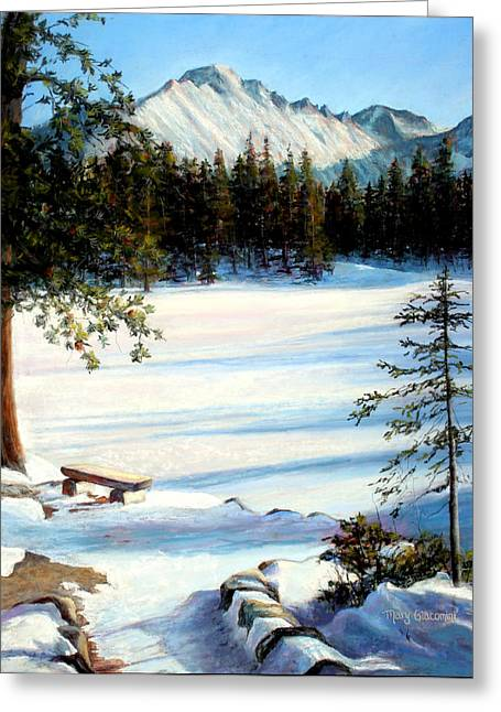 Snowed Trees Pastels Greeting Cards - Nymph Lake Greeting Card by Mary Giacomini