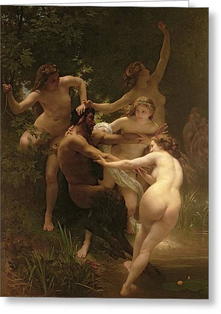 Body Greeting Cards - Nymphs and Satyr Greeting Card by William Adolphe Bouguereau