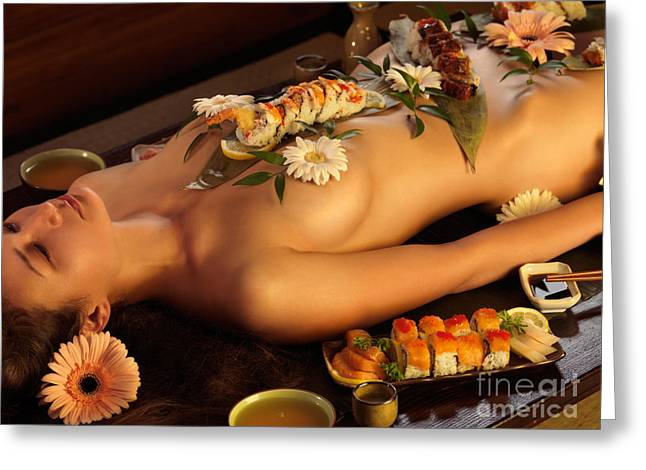 Asian Ethnicity Greeting Cards - Nyotaimori Body Sushi Greeting Card by Oleksiy Maksymenko