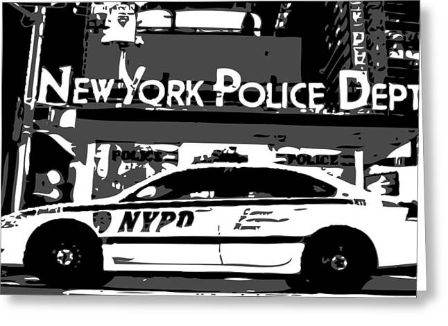 I Heart Ny Greeting Cards - Nypd Bw3 Greeting Card by Scott Kelley