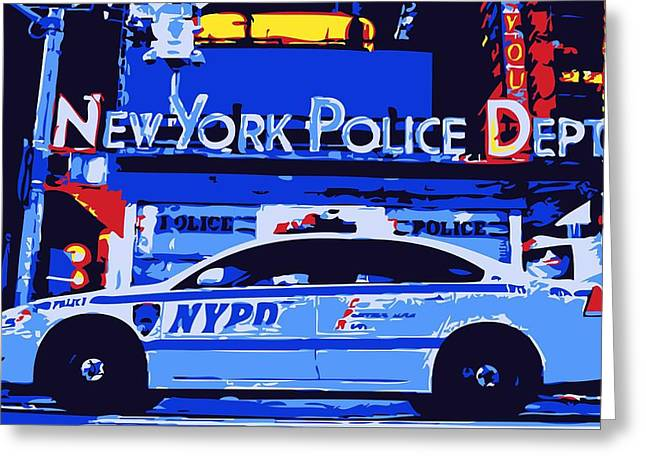 New York Cops Greeting Cards - NYPD Color 6 Greeting Card by Scott Kelley