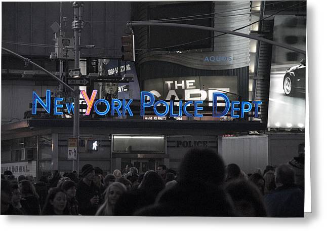 Nypd Greeting Cards - NYPD Time Square Greeting Card by Avery Eden