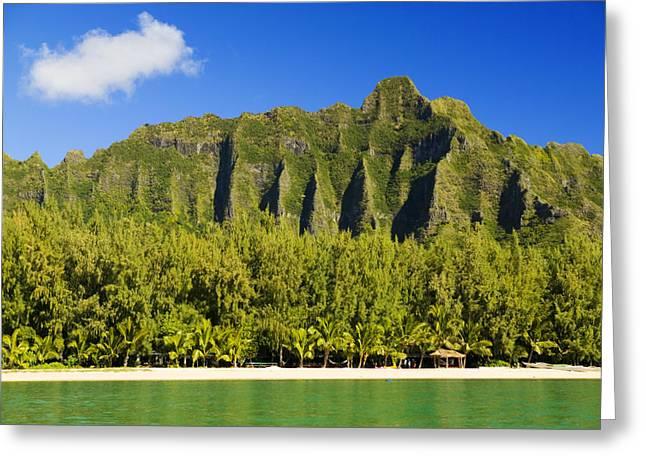 Ocean Art Photos Greeting Cards - Oahu Kualoa Mountains Greeting Card by Dana Edmunds - Printscapes