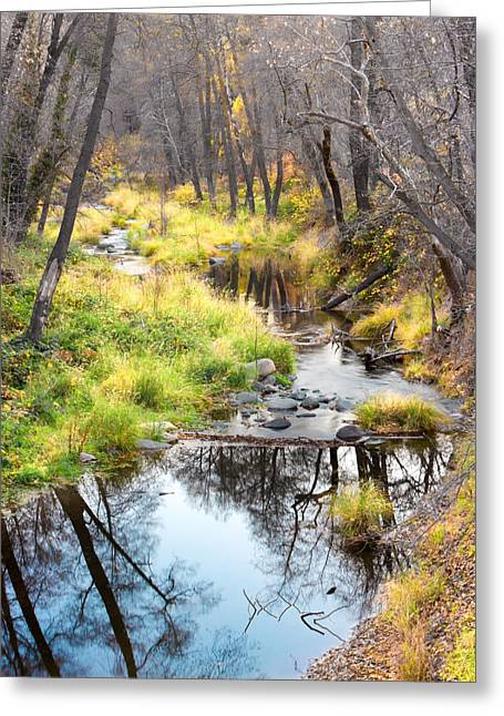 Oak Creek Canyon Greeting Cards - Oak Creek Twilight Greeting Card by Carl Amoth