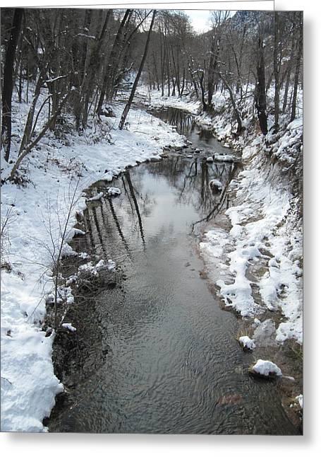 Oak Creek Greeting Cards - Oak Creek Winter Greeting Card by Sandy Tracey