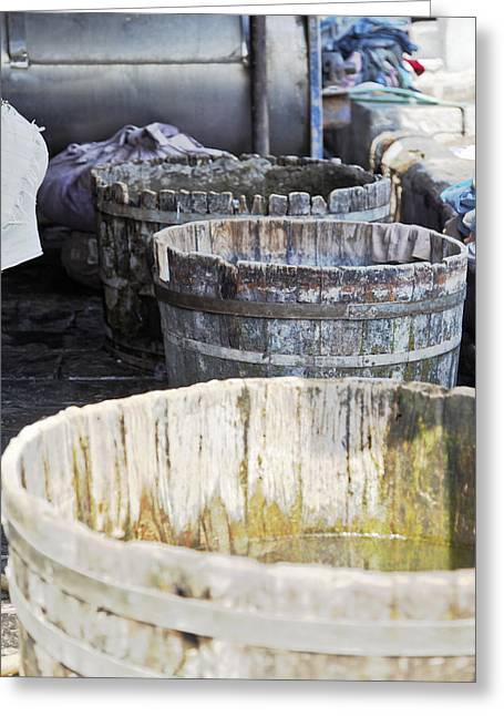 Squalid Greeting Cards - Oak Laundry Vats Dhobhi Ghat Greeting Card by Kantilal Patel