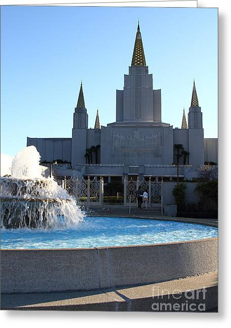 Burton Greeting Cards - Oakland California Temple . The Church of Jesus Christ of Latter-Day Saints . 7D11316 Greeting Card by Wingsdomain Art and Photography