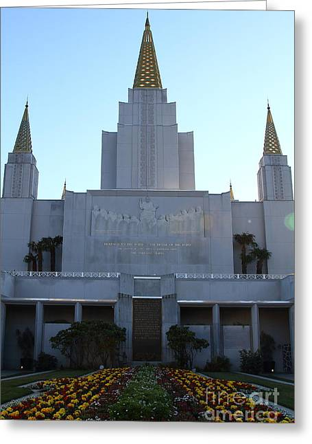Burton Greeting Cards - Oakland California Temple . The Church of Jesus Christ of Latter-Day Saints . 7D11324 Greeting Card by Wingsdomain Art and Photography