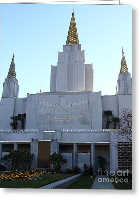 Burton Greeting Cards - Oakland California Temple . The Church of Jesus Christ of Latter-Day Saints . 7D11327 Greeting Card by Wingsdomain Art and Photography
