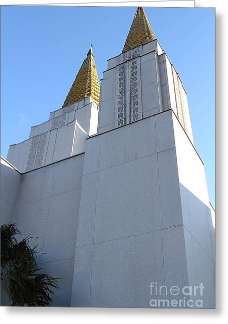 Burton Greeting Cards - Oakland California Temple . The Church of Jesus Christ of Latter-Day Saints . 7D11336 Greeting Card by Wingsdomain Art and Photography