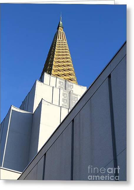 Burton Greeting Cards - Oakland California Temple . The Church of Jesus Christ of Latter-Day Saints . 7D11338 Greeting Card by Wingsdomain Art and Photography