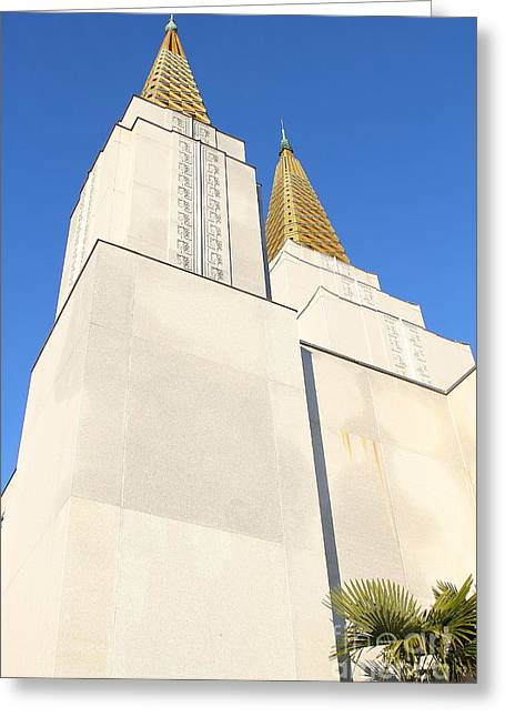 Burton Greeting Cards - Oakland California Temple . The Church of Jesus Christ of Latter-Day Saints . 7D11345 Greeting Card by Wingsdomain Art and Photography