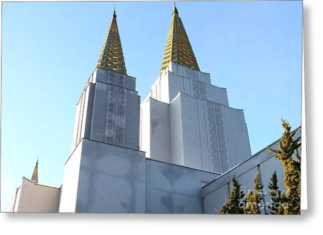Burton Greeting Cards - Oakland California Temple . The Church of Jesus Christ of Latter-Day Saints . 7D11360 Greeting Card by Wingsdomain Art and Photography