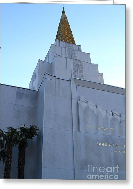 Burton Greeting Cards - Oakland California Temple . The Church of Jesus Christ of Latter-Day Saints . 7D11364 Greeting Card by Wingsdomain Art and Photography