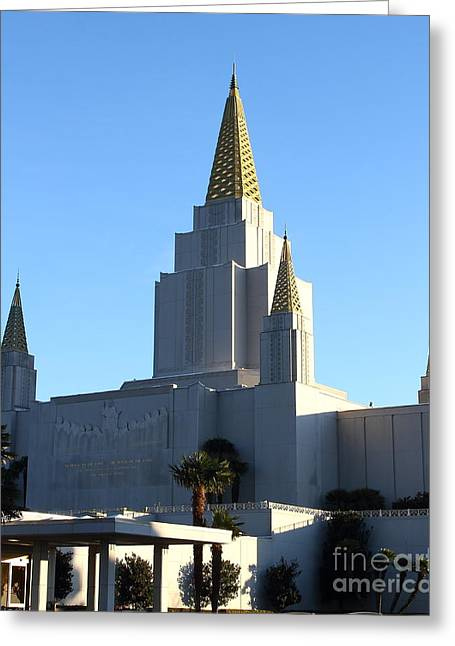 Burton Greeting Cards - Oakland California Temple . The Church of Jesus Christ of Latter-Day Saints . 7D11374 Greeting Card by Wingsdomain Art and Photography
