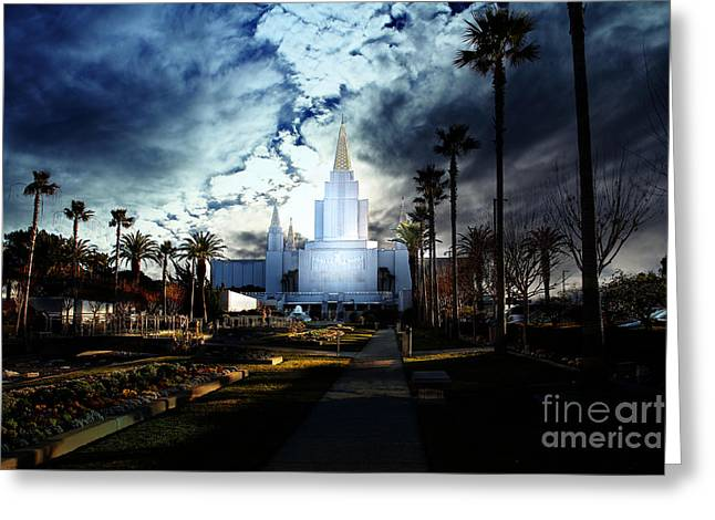 Eastbay Greeting Cards - Oakland California Temple . The Church of Jesus Christ of Latter-Day Saints Greeting Card by Wingsdomain Art and Photography