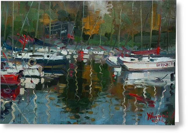 Lake Paintings Greeting Cards - Oakville Harbour ON Greeting Card by Ylli Haruni