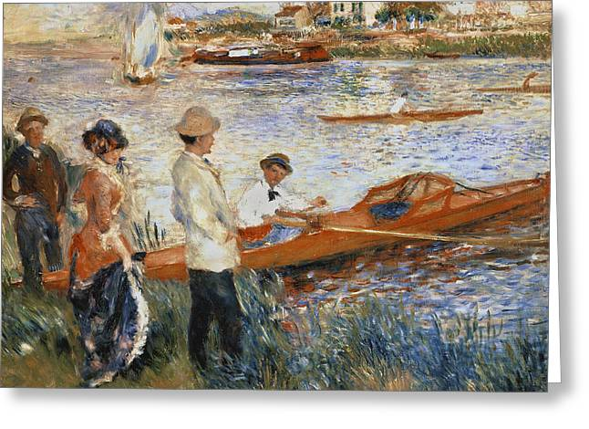 Sailing Boat Greeting Cards - Oarsmen at Chatou Greeting Card by Pierre Auguste Renoir